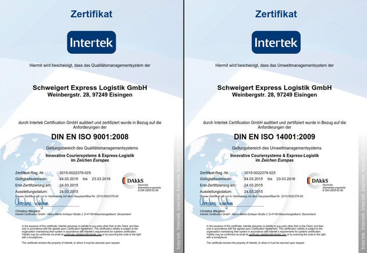 Schweigert Express Logistik DIN ISO 9001 / 14001